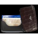 Tru Virtu Card Case Leather Croco Brown