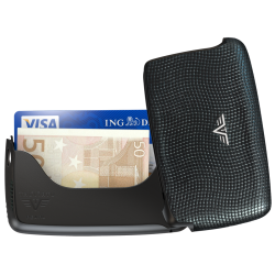 Tru Virtu Card Case Leather Pebble Black