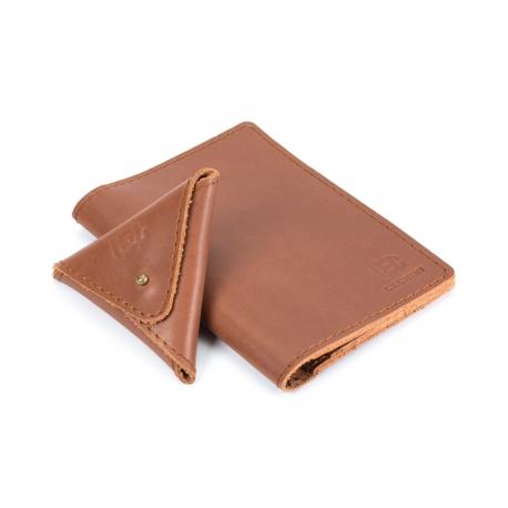 ZESTAW SKÓRZANY cienki portfel CECHINI + bilonówka